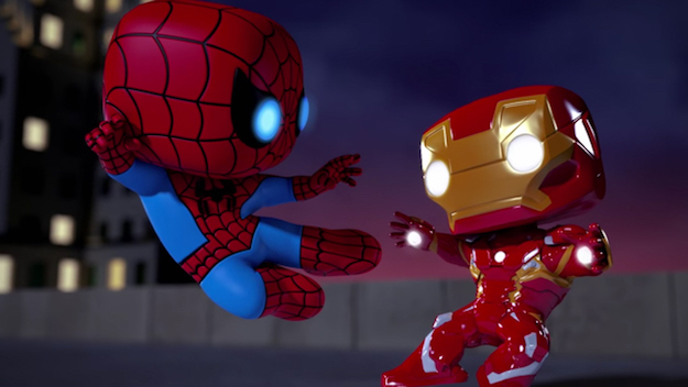 """Watch """"Spellbound,"""" the first in a series of animated short films starring the Marvel Funko pops. This one features Iron Man and Spider-Man taking on Loki."""