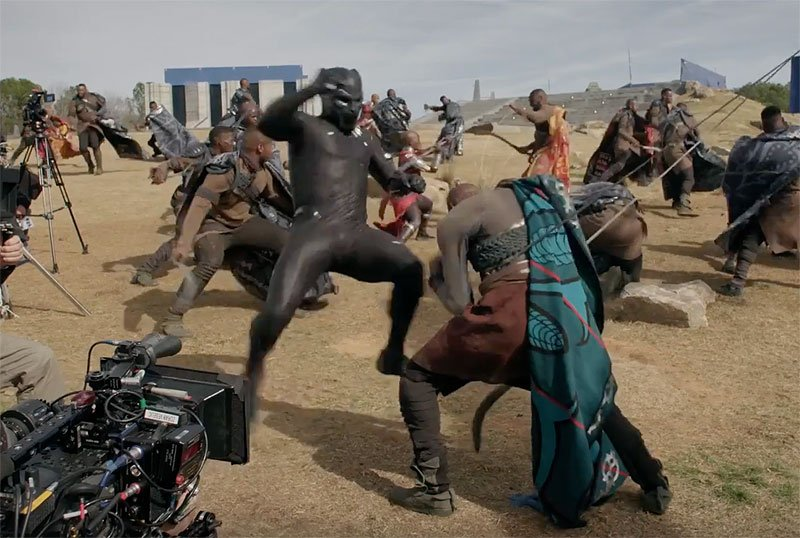 big action in black panther behind the scenes featurette