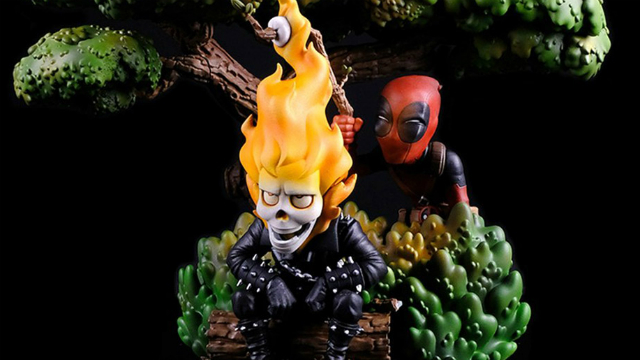 Deadpool Takes Amusing Advantage of Ghost Rider in This Diorama