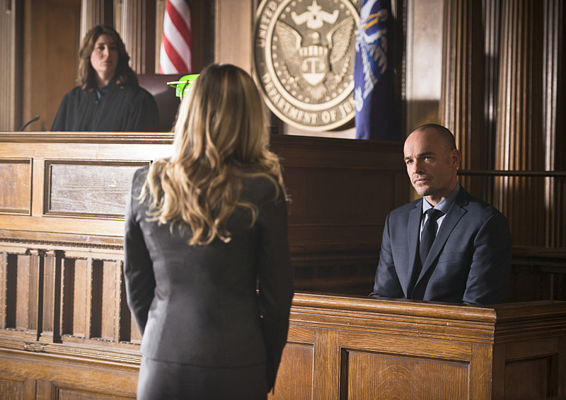 "Katie Cassidy and Paul Blackthorne in Arrow ""Broken Hearts"""