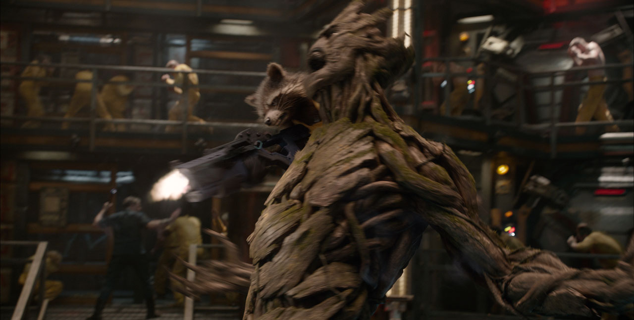 Marvel's Guardians Of The Galaxy L to R: Rocket Racoon (voiced by Bradley Cooper) & Groot (voiced by Vin Diesel) Ph: Film Frame ©Marvel 2014